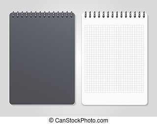 Realistic notebooks with spiral - cover and lined page