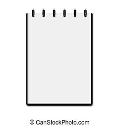 Realistic notepad isolated on white background