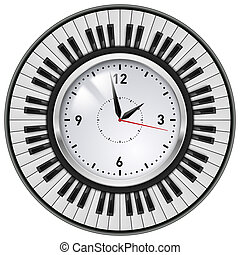 Realistic Office Clock and Piano keys. Illustration on white...