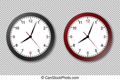 Realistic office clock. Wall round watches with time arrows and clock face isolated 3d vector black and red clocks on transparency background.