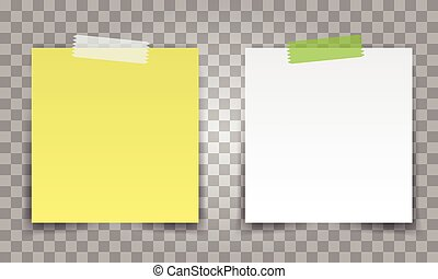 Realistic Office paper sheet pin with transparent tape. White and yellow post note vector for your design.