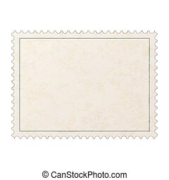 Realistic old blank post stamp with paper texture isolated on white