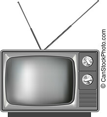 Realistic old Tv television illustration with dials
