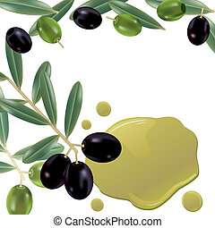 Realistic olive oil background. Illustration vector.