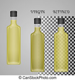 Realistic Olive Oil Bottle Mockup With Transparent Glass And Liquid. Virgin And Refined Oil. Blank Packaging Template. Vector