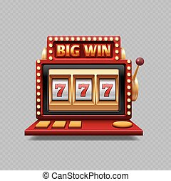 Realistic one arm bandit vector - jackpot slot casino