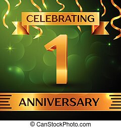 Realistic One Years Anniversary Celebration Design. Confetti and gold ribbon on green background. Colorful Vector template elements for your birthday party. Anniversary ribbon
