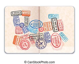 Realistic open foreign passport with many bright colorful immigration stamps in train shape on white