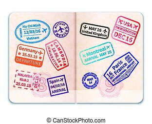Realistic open foreign passport with many immigration stamps