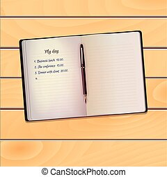 Realistic open notebook (notepad) with black pen on wooden background.