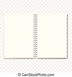 Realistic opened notebook with blank sheets. Vector textbook on ring spiral binder, educational or office mockup