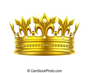 Realistic or 3d golden crown for king or queen