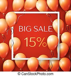 Realistic orange balloons with black ribbon in centre text Big Sale 15 percent Discounts in white square frame over red background. SALE concept for shopping, mobile devices, online shop. Vector