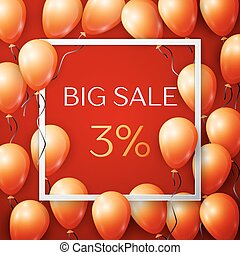 Realistic orange balloons with black ribbon in centre text Big Sale 3 percent Discounts in white square frame over red background. SALE concept for shopping, mobile devices, online shop. Vector