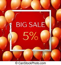 Realistic orange balloons with black ribbon in centre text Big Sale 5 percent Discounts in white square frame over red background. SALE concept for shopping, mobile devices, online shop. Vector