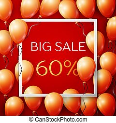 Realistic orange balloons with black ribbon in centre text Big Sale 60 percent Discounts in white square frame over red background. SALE concept for shopping, mobile devices, online shop. Vector