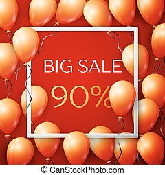 Realistic orange balloons with black ribbon in centre text Big Sale 90 percent Discounts in white square frame over red background. SALE concept for shopping, mobile devices, online shop. Vector