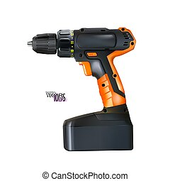 Realistic orange black cordless drill professional tool isolated on white background. Construction and metalworking. Vector illustration