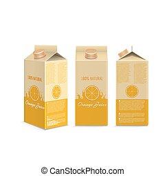 Realistic orange juice box