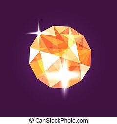 Realistic orange topaz jewel. Gem. Vector illustration.