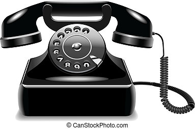 Realistic outdated black telephone - Vector illustration of...