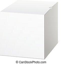 Realistic Package Cardboard Box. Cube shape.