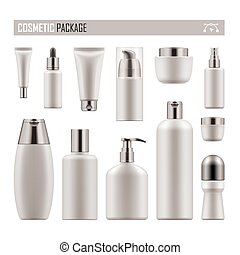 Realistic package for cosmetic product - Set of realistic...