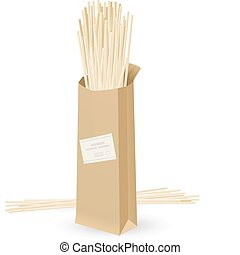 Realistic package spaghetti. Illustration on white...
