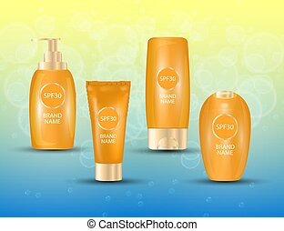 Realistic packages of Sun Protection Cream tubes. Vector...