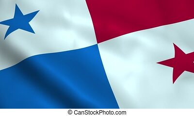 Realistic Panama flag waving in the wind. Seamless looping.