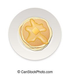 Realistic pancake with a piece of butter on a white plate closeup isolated on white background, top view. Design template for breakfast, food menu and homestyle concept. Vector EPS10 illustration
