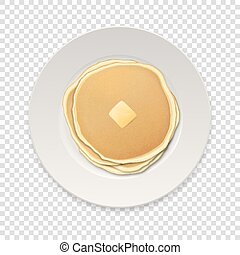 Realistic pancakes with a piece of butter on a white plate closeup isolated on transparency grid background, top view. Design template, breakfast, food menu and homestyle concept. Vector illustration