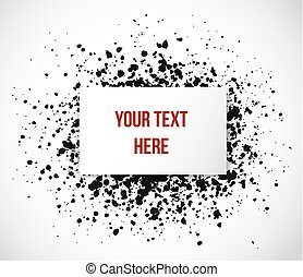 Realistic paper background with place for your text on black grunge splash