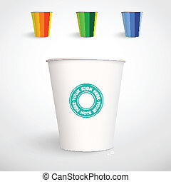 Realistic Paper Cup Vector Template