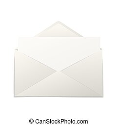 Realistic paper envelope with blank sheet