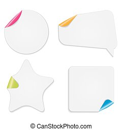 Realistic Paper Stickers Isolated on White Background Vector Ill