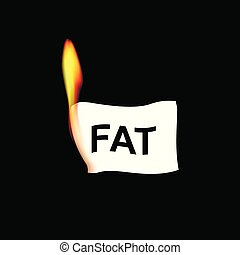 realistic paper with fat word in flame isolated on the black...