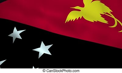 Realistic Papua New Guinea flag waving in the wind. Seamless...