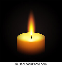 realistic paraffin burning candle isolated on black