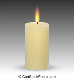realistic paraffin burning candle isolated on white ...