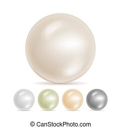 Realistic Pearls Isolated Vector. Set 3d Shiny Oyster Pearl...