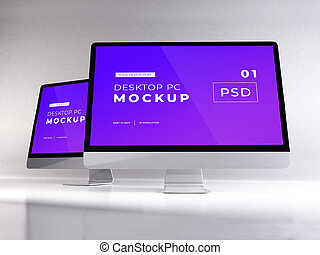 Realistic Personal Computer Mockup Template Scene