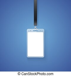 Realistic personal permit. Professional identification card id badge holder, access card. Vector illustration