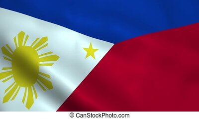 Realistic Philippines flag waving in the wind. Seamless...