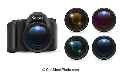 Realistic photo camera. 3D lenses isolated on white background. Photographic equipment vector set