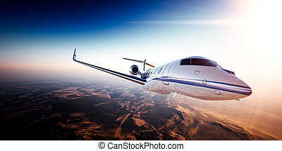 Realistic photo of White generic design private jet flying ...