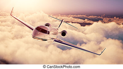 Realistic photo of White Luxury generic design private airplane flying over the earth at sunset. Empty blue sky with huge white clouds background. Business Travel Concept. Horizontal. 3d rendering