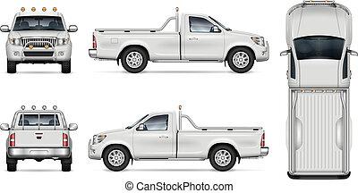 Realistic Pickup Truck Vector Illustration