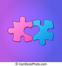 Realistic pieces of jigsaw puzzle with heart shape between them on purple background. Two halves of the whole. Love, medical, relationship symbol. Valentine's concept. Vector Illustration.