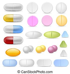 Realistic pills icons. Medicines tablets capsules drugs ...